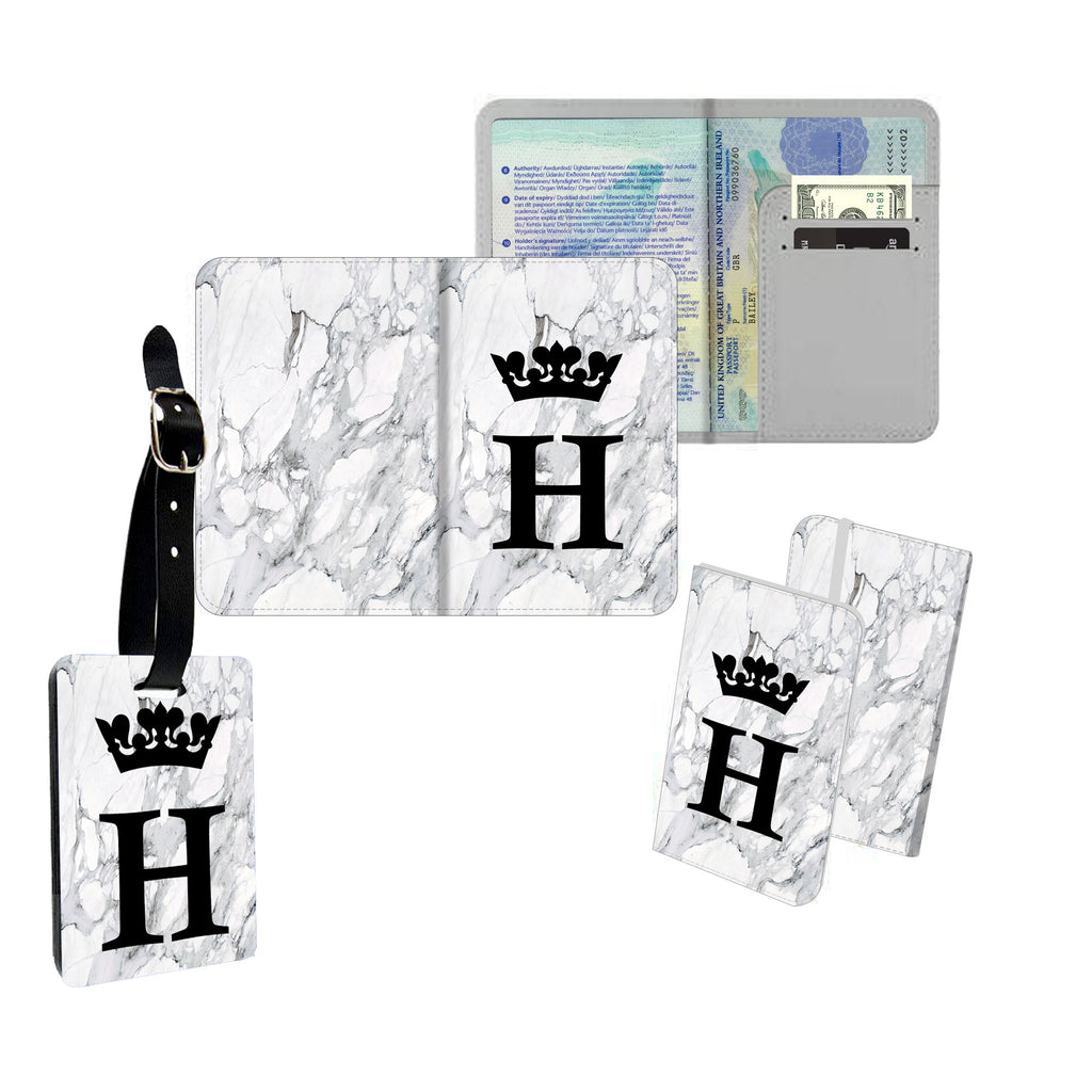 Personalised Name Passport Slim Cover Holder Luggage Tag Cute Initial Queen Grey Marble - Ai Printing