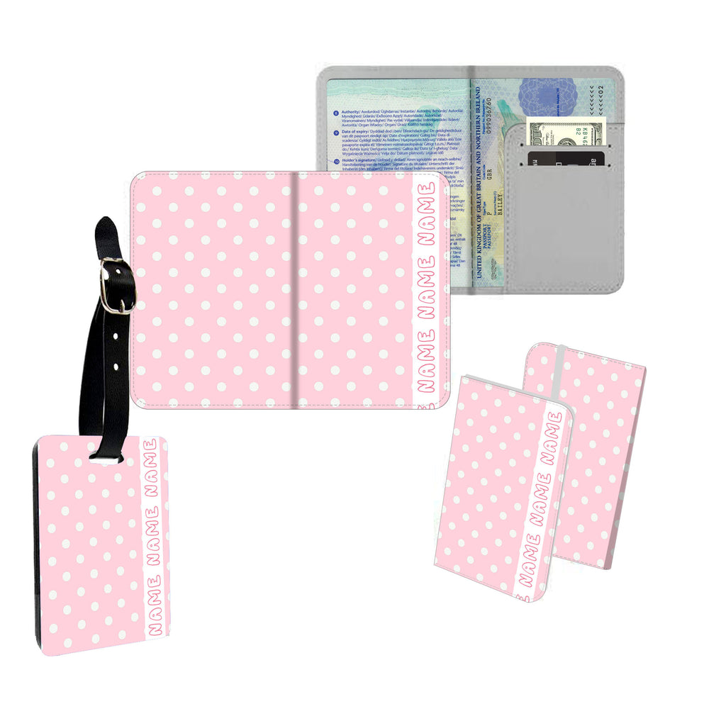 Personalised Name Passport Slim Cover Holder Luggage Tag Retro Pink & White Polkadots - Ai Printing