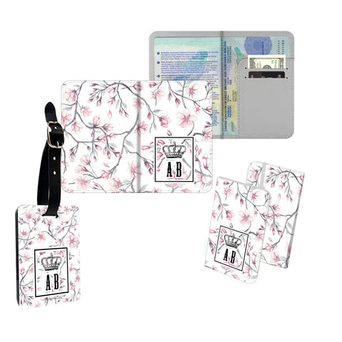 Personalised Name Passport Slim Cover Holder Luggage Tag Pink Floral Stripy Crown - Ai Printing