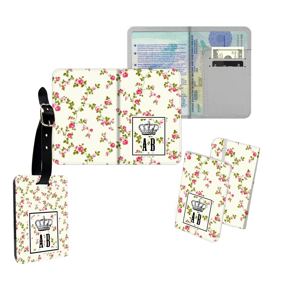 Personalised Name Passport Slim Cover Holder Luggage Tag Floral Stripy Crown - Ai Printing