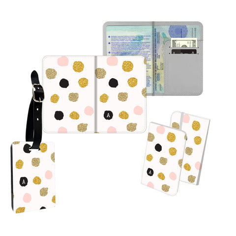 Personalised Name Passport Slim Cover Holder Luggage Tag Pink Gold Polkadots - Ai Printing