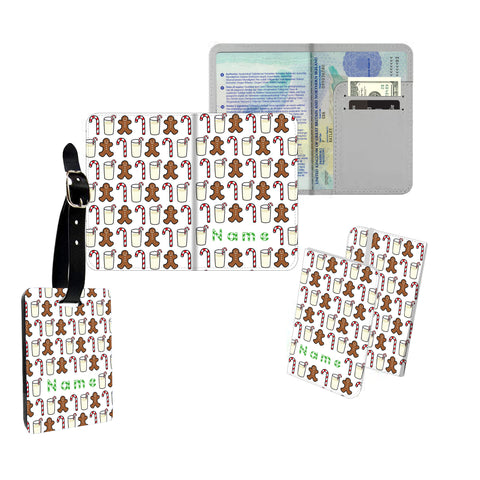 Personalised Name Passport Slim Cover Holder Luggage Tag Christmas Pattern - Ai Printing