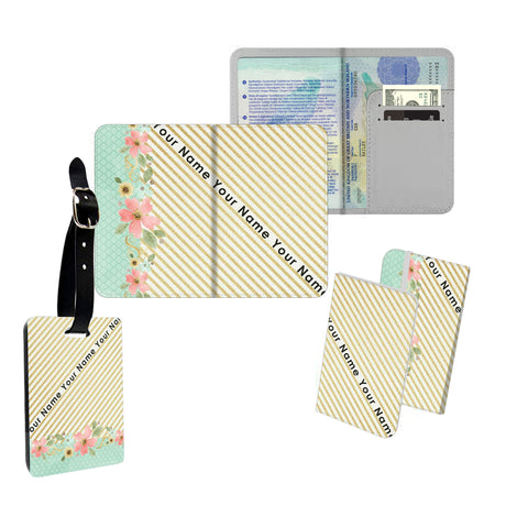 Personalised Name Passport Slim Cover Holder Luggage Tag Gold Stripes and Flowers - Ai Printing
