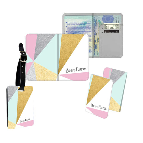 Personalised Name Passport Slim Cover Holder Luggage Tag Pastel Metallic Geometric - Ai Printing