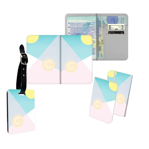 Personalised Name Passport Slim Cover Holder Luggage Tag Pastel Shapes Geometric - Ai Printing