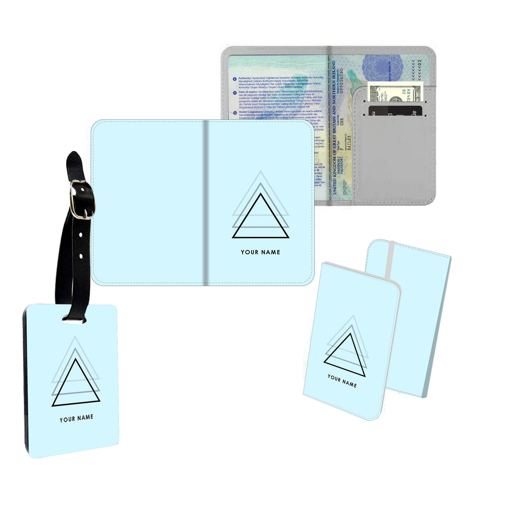 Personalised Name Passport Slim Cover Holder Luggage Tag Light Blue Triangles - Ai Printing