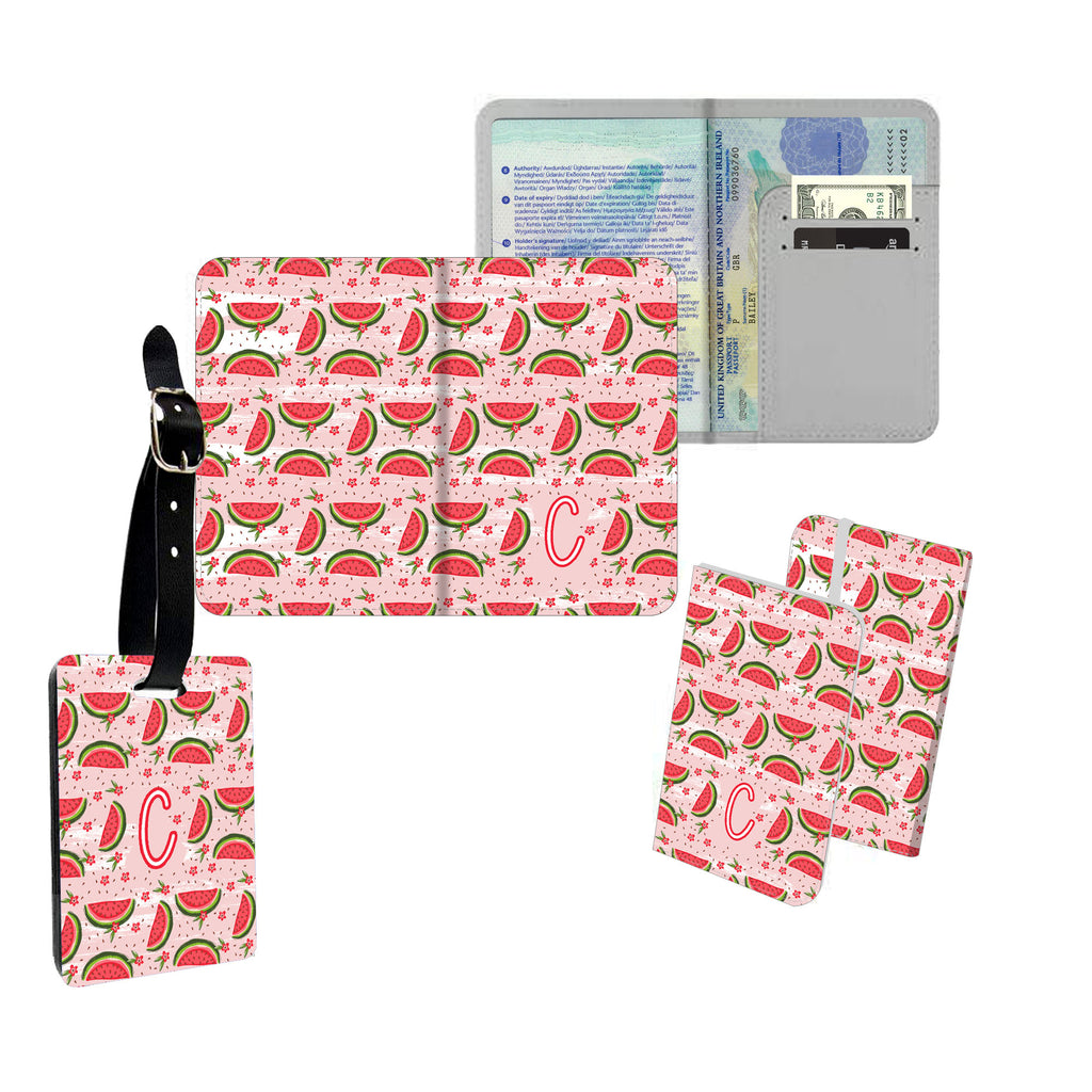 Personalised Name Passport Slim Cover Holder Luggage Tag Watermelon Pattern - Ai Printing