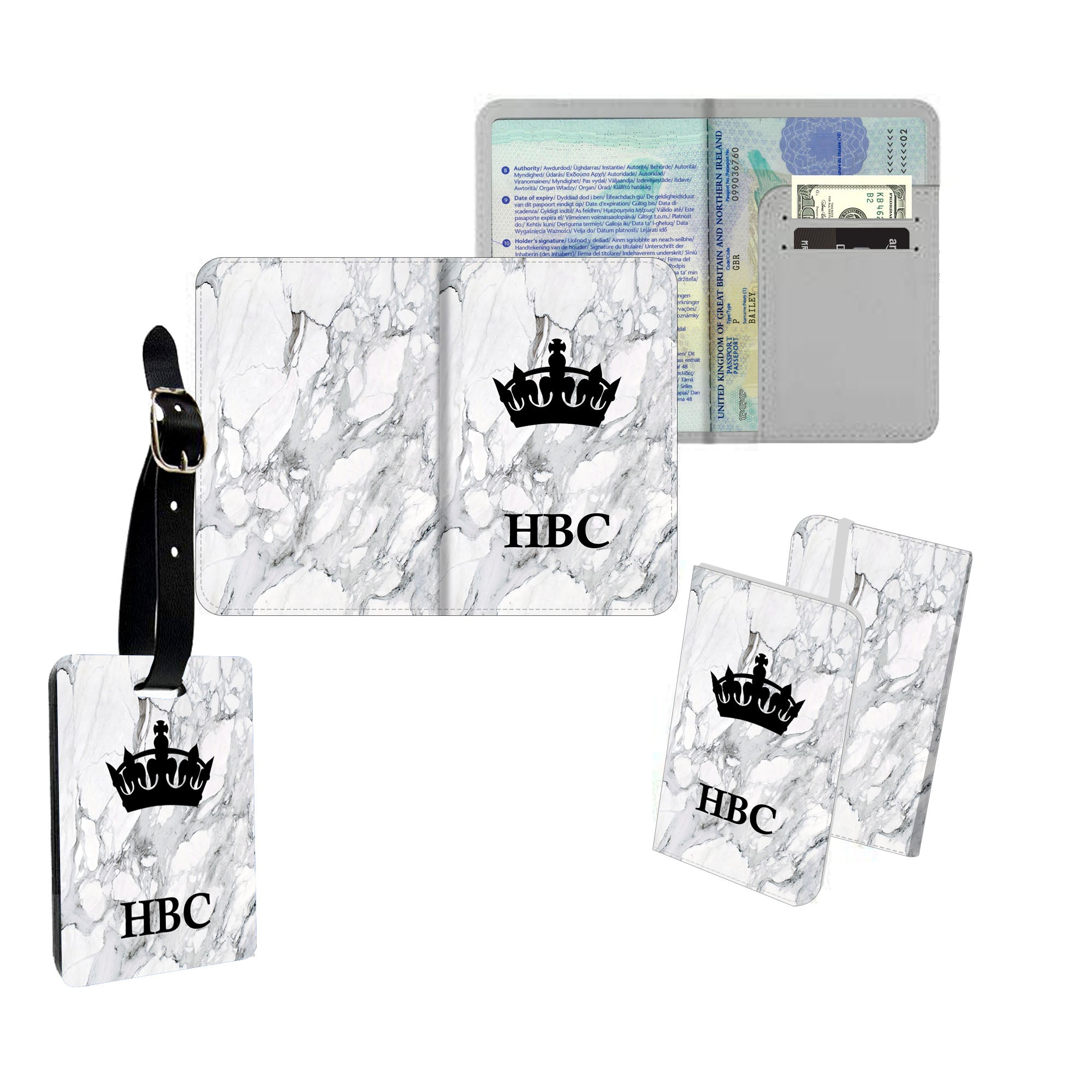 Personalised name passport slim cover holder luggage tag initial king grey marble ai printing