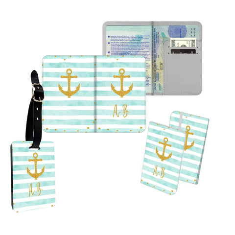 Personalised Name Passport Slim Cover Holder Luggage Tag Gold Anchor Green Stripes - Ai Printing