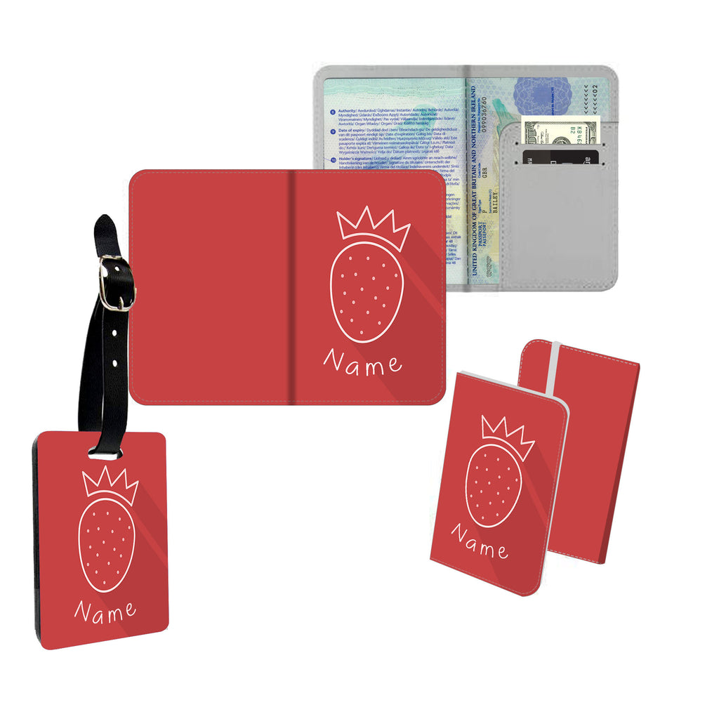 Personalised Name Passport Slim Cover Holder Luggage Tag Strawberry Crown - Ai Printing