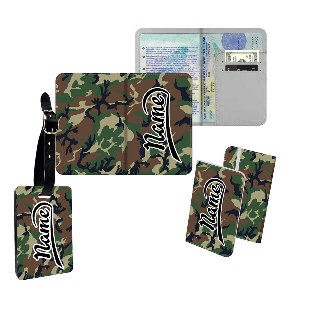 Personalised Name Passport Slim Cover Holder Luggage Tag Brown & Green Camouflage Print - Ai Printing