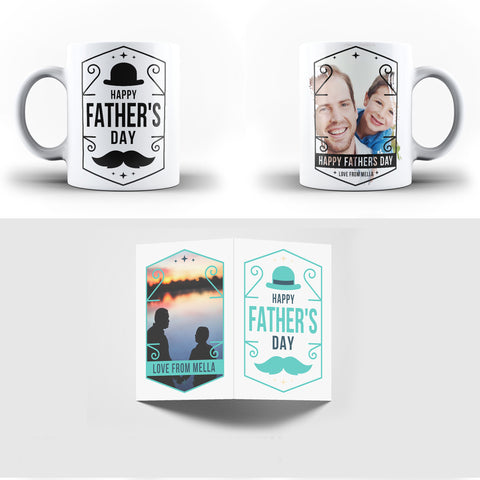 Personalised Family Collage Photos Father's Day Gift Mug - Personalised Mug with Greeting Card - Ai Printing