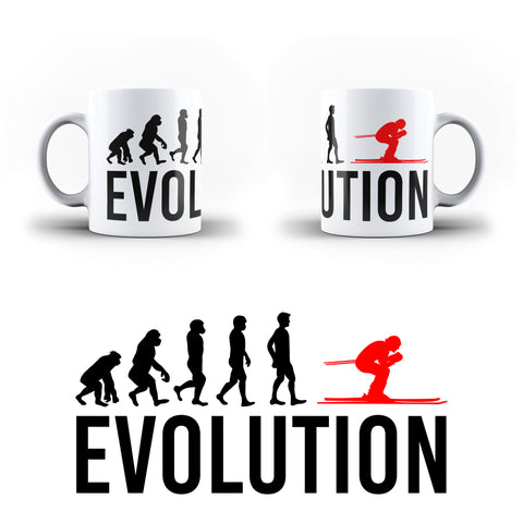 Evolution Of Skiing Sports - White Magic And Inner Color Mug(mugs near me,mug website)