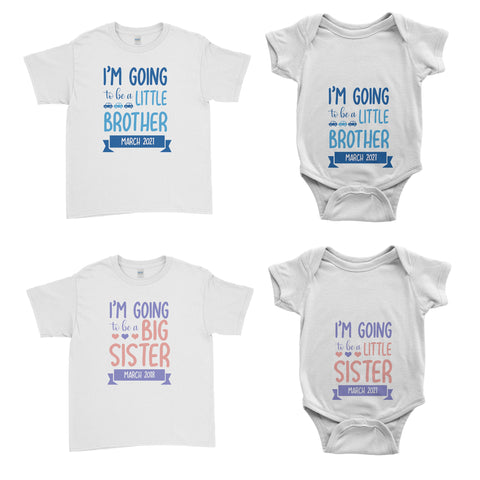 Personalised Im Going To Be A Big Brother Sister Kid T-Shirt Baby Grow Body Suit - Family Matching T-Shirts