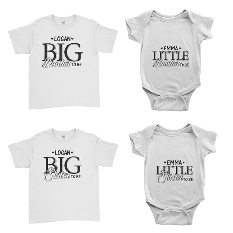 Personalised Cute Big Little Brother Sister To Be Kid T-Shirt Baby Grow Body Suit - Family Matching T-Shirts