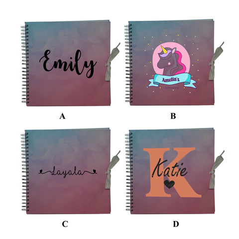 Personalised Name Initial Work Home Use Spiral Bound Scrapbook - Ombre - Ai Printing
