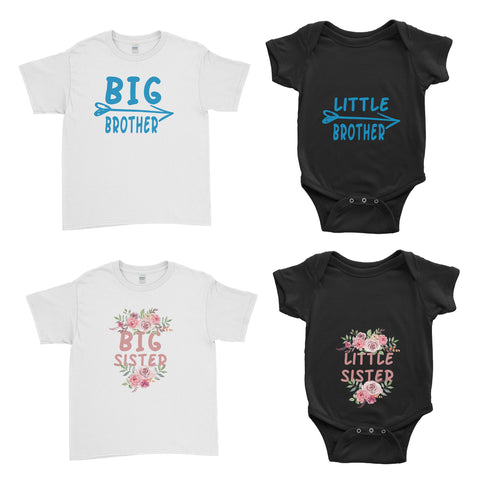 Big Brother Little Brother Big Little Sister Kids T-Shirt Baby Grow Body Suit - Family Matching T-Shirts