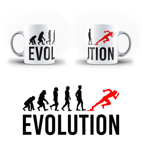 Evolution Of  Running Race Sports - White Magic And Inner Color Mug(mugs near me,mug website)