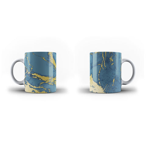 Printed Peacock Blue & Gold - Personalised Mug - White - Ai Printing