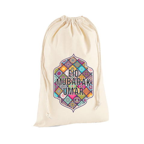Personalised Name Mandala Happy Eid Mubarak Ramadan Arabic Islamic Sack Bag