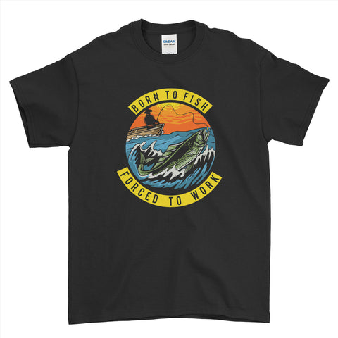 Born To Fish Force To Work Fishing Mens T-Shirt