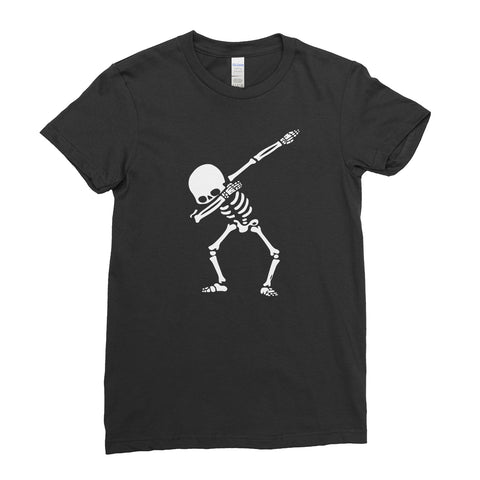 Halloween Scary Spooky Skeleton Dabbing Cute  - Women T-shirt(halloween shirt ideas,halloween funny,halloween t shirt designs,halloween apparel,scary T- shirts,halloween horror shirts)