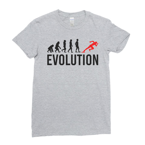 Evolution Of Running Race Sports - Women T-shirt(unq clothing,unique t shirts women's,unique shirts for mens,interesting t shirts designs,classy t shirt,Covid t shirt)