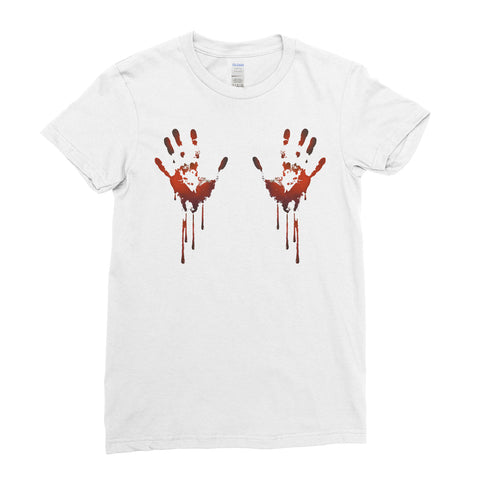 Halloween Scary Bloody Hands Funny - Women T-shirt halloween shirt ideas,halloween funny,halloween t shirt designs,halloween apparel,scary T- shirts,halloween horror shirts)