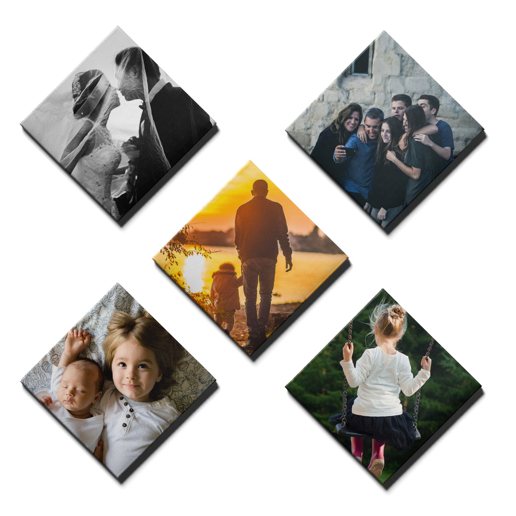 5 Panel Personalised Canvases - Collage Style Square Diamond - Fixed Sized - Ai Printing