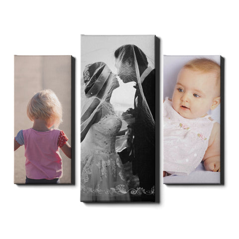 3 Panel Personalised Canvases - Collage Style Portrait - Dynamic Size - Ai Printing