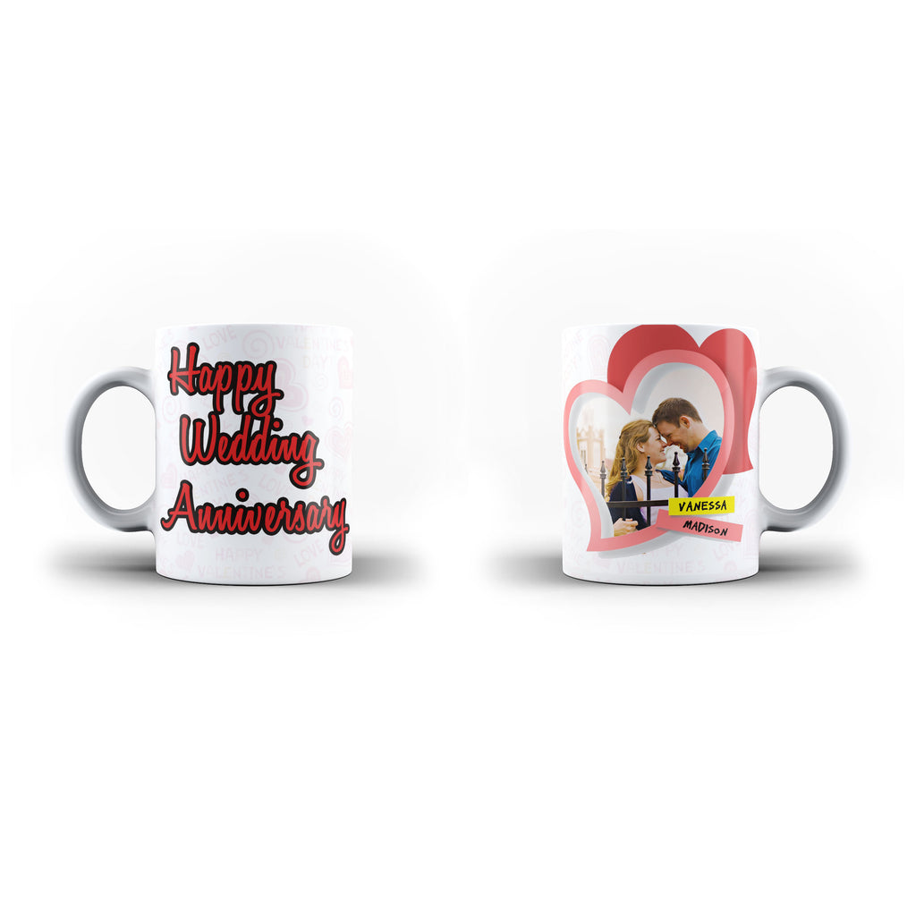 Personalised Photo Mug and Message Wedding Anniversary gift- Personalised Mug - White Magic Inner Color - Ai Printing