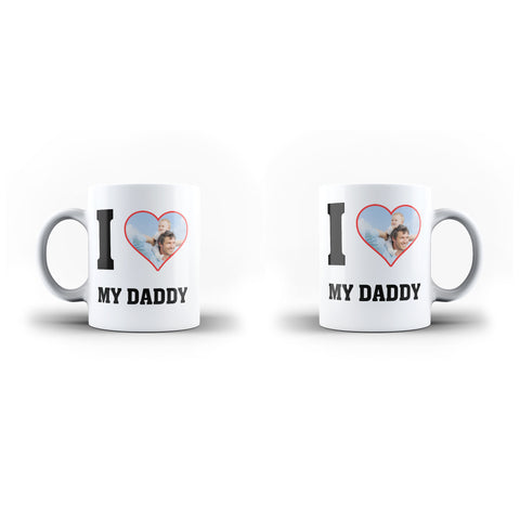 Personalised Photo Father's Day Custom I Love My Dad - Unique Mug - White Set - Ai Printing