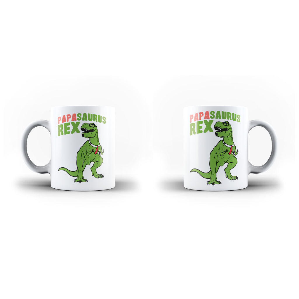 Fathers Day Birthday Papa Saurus Rex Gift for Dad - Unique Mug - White Set - Ai Printing