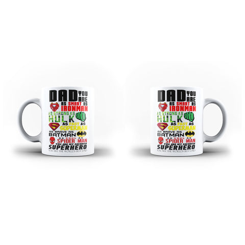 Fathers Day Birthday Gift Dad is My Superhero - Unique Mug - White Set - Ai Printing