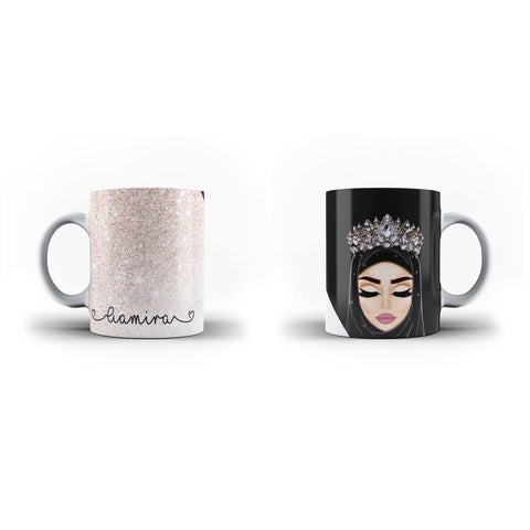 Personalised Name Marble Arabic Muslim Islam Islamic-Personalised Mug- White Magic Mug - Ai Printing