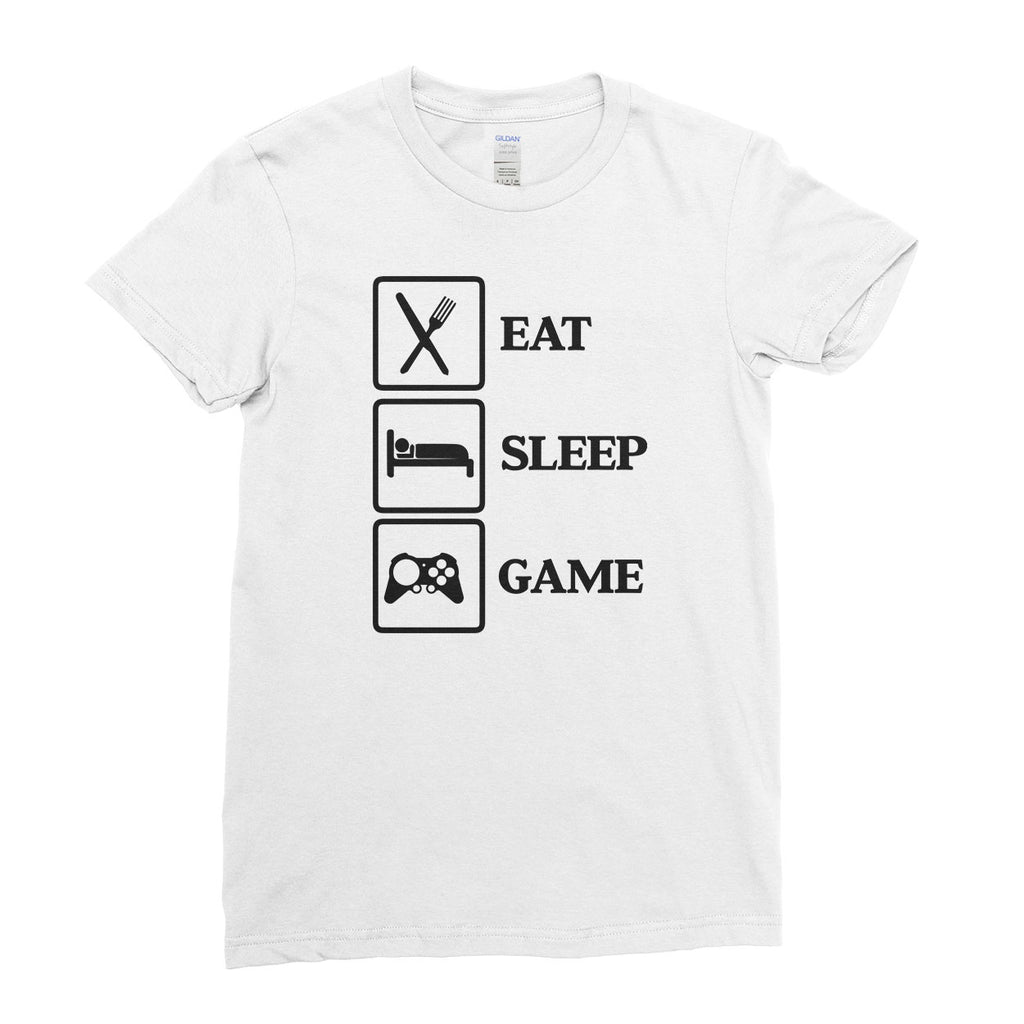 Eat Sleep Game Gamer t shirt Funny Party Funny Cool - T-shirt - Womens - Ai Printing