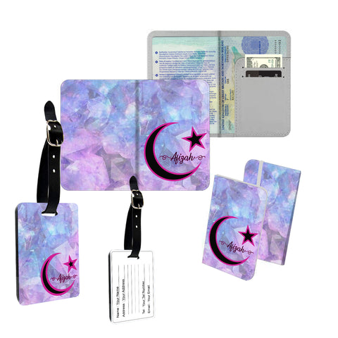 Personalised Name Marble Arabic Calligraphy Muslim Islam Cover Holder Luggage Tag Travel Set - Ai Printing