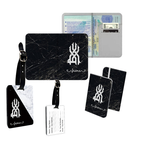 Personalised Name Marble Arabic Muslim Islam Cover Holder Luggage Tag Travel Set - Ai Printing