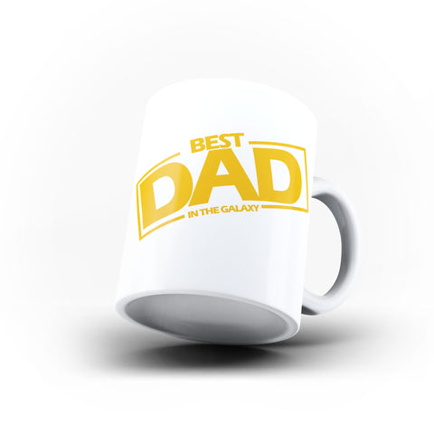 Fathers Day Birthday Best Dad in the Galaxy - Unique Mug - White Set - Ai Printing