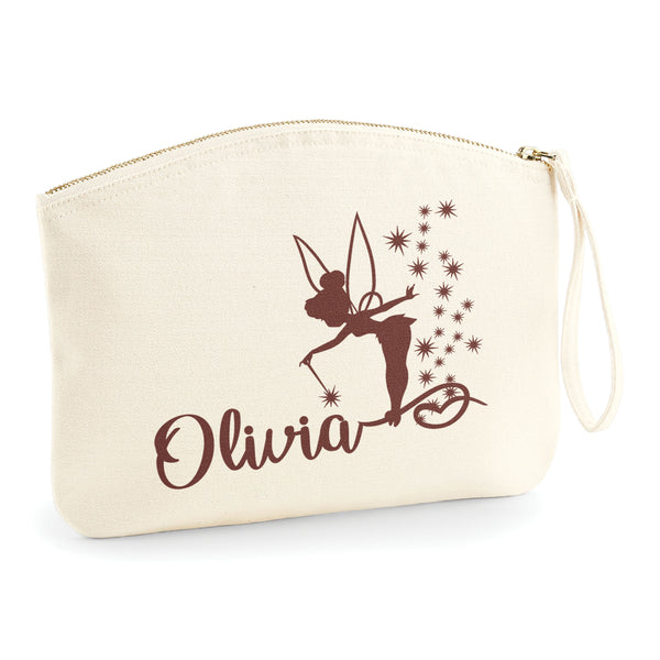 Personalised Name & Tinkerbell Make Up Bag Travel - Accessory Bag - Ai Printing