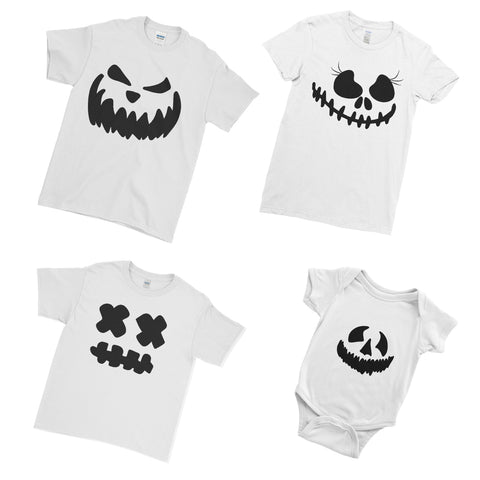 Pumpkin Face Halloween T Shirts Halloween Family Ghost Face Family Matching Set T-Shirts for Men Women Kids Baby | Ai Printing