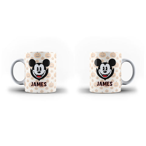 Personalised Name Happy Halloween Cute Micky Mouse-Personalised Mug- White Magic Mug - Ai Printing