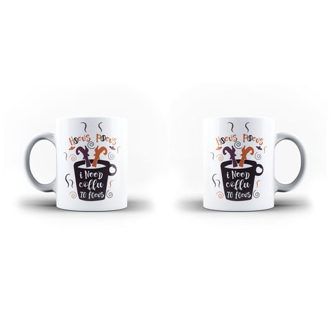 Hocus Pocus I Need Coffee To Focus Halloween-Mug- White Magic Mug - Ai Printing