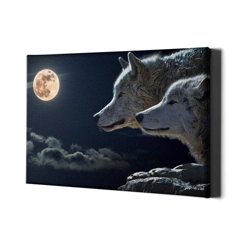 Night Wolf - Single Panel Canvas - Landscape - Ai Printing