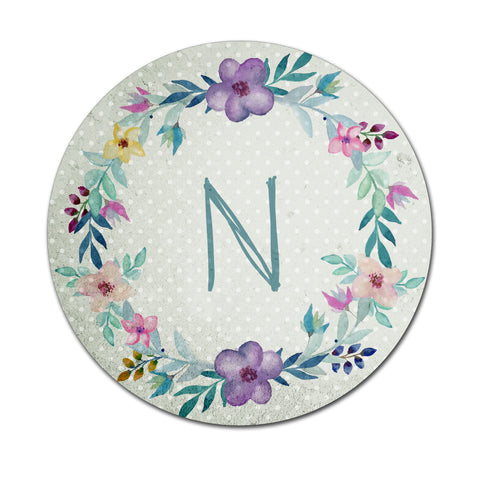 Blue Floral Watercolours - Round Coaster - Ai Printing