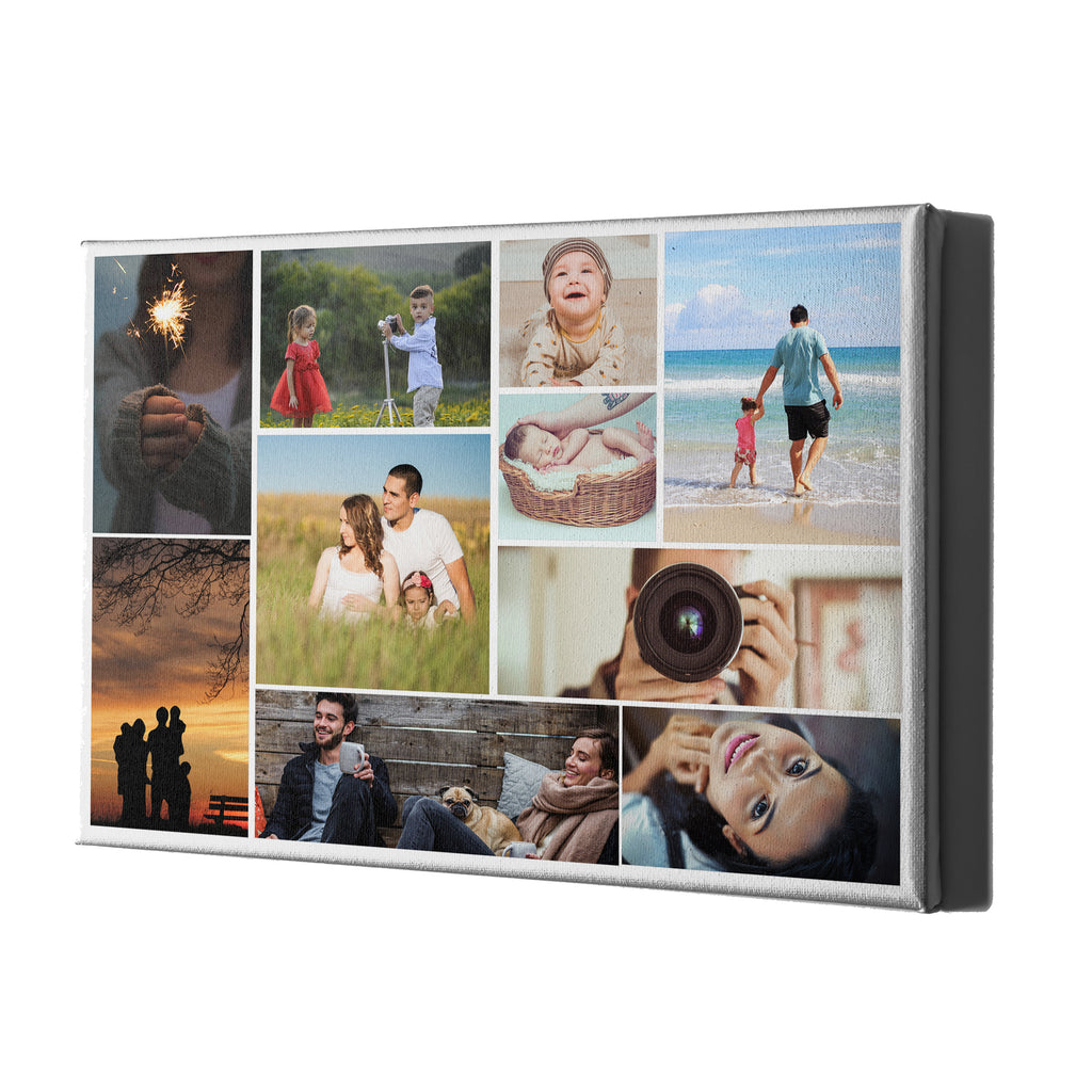 Collage Style Personalised Canvases - White Landscape Portrait - Ai Printing