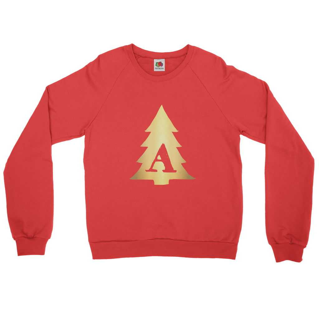 Christmas Tree Personalised Initial - Sweater - Womens - Ai Printing