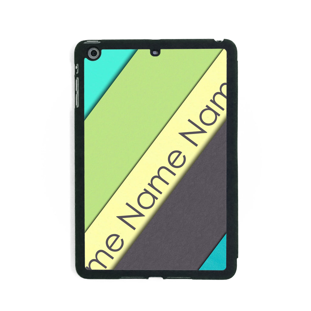 Green Blue Yellow Stripes - iPad Smart Case - Ai Printing