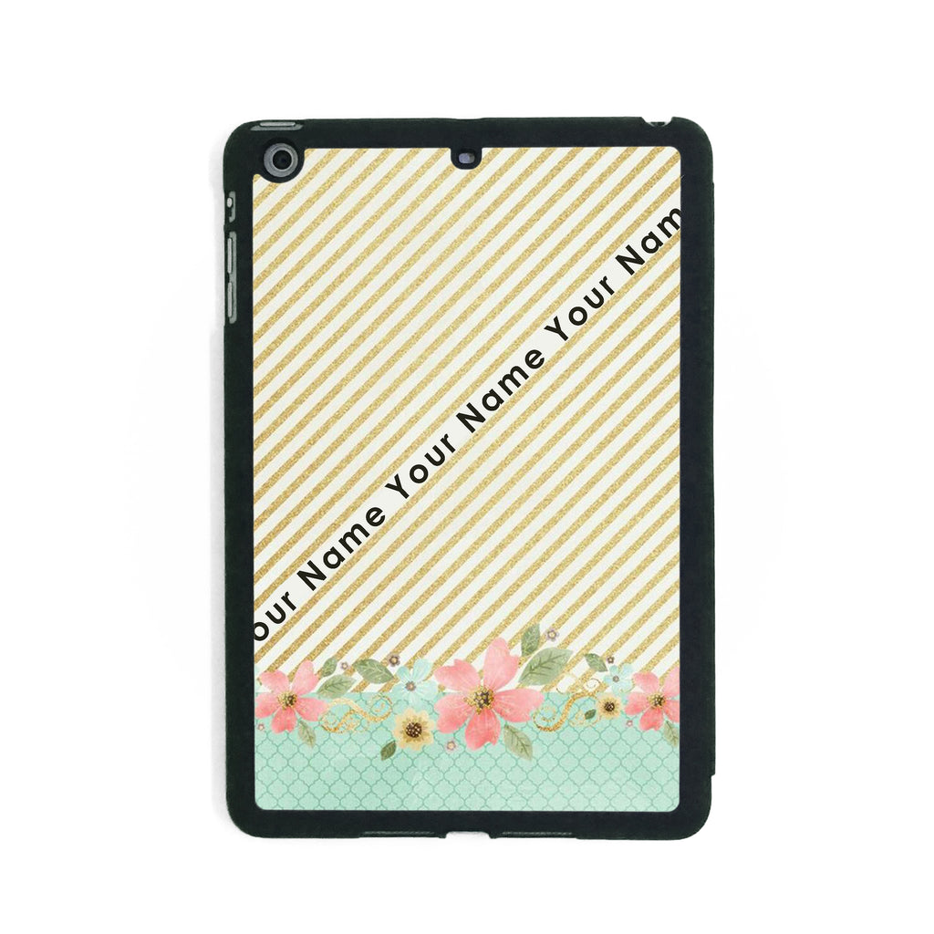 Gold Stripes & Flowers - iPad Smart Case - Ai Printing