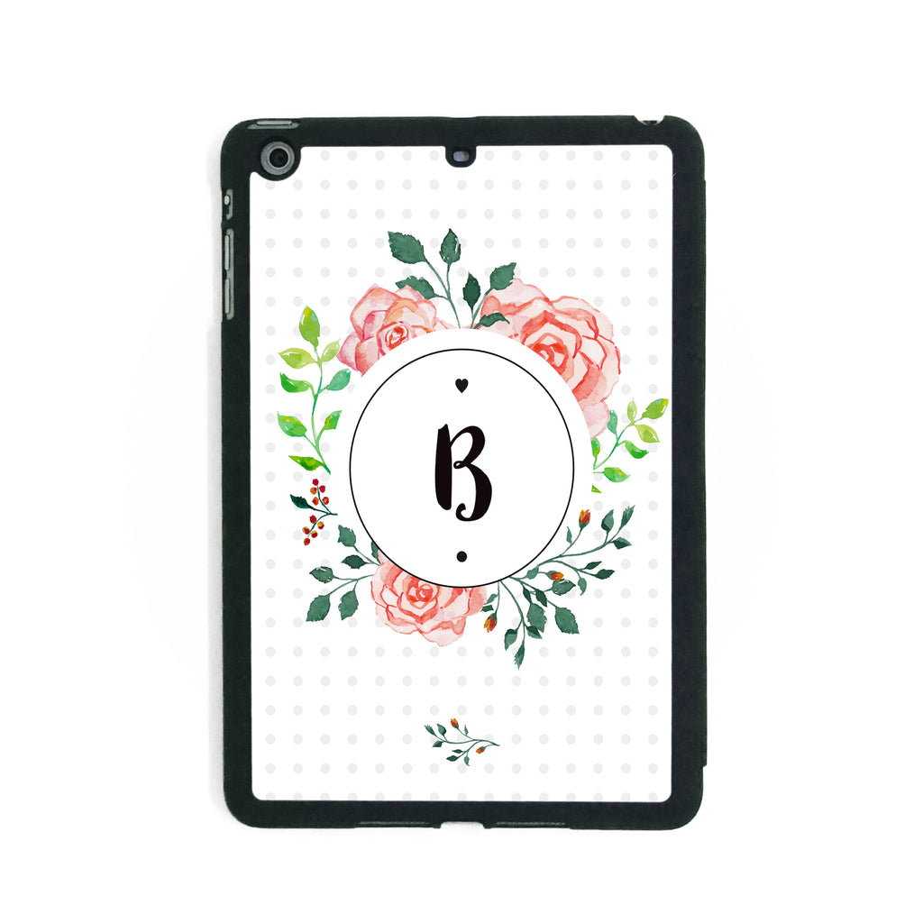 Floral Initial Circle - iPad Smart Case - Ai Printing